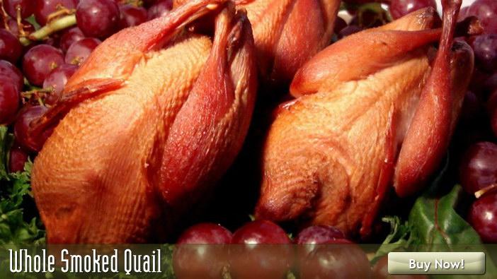 Purchase whole smoked quail at Sugartown smoked specialties